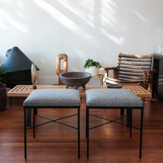 Pair of Iron X-Base Ottomans, 1950s Preview