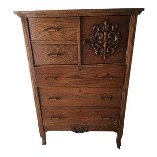 Antique Wood Highboy Dresser