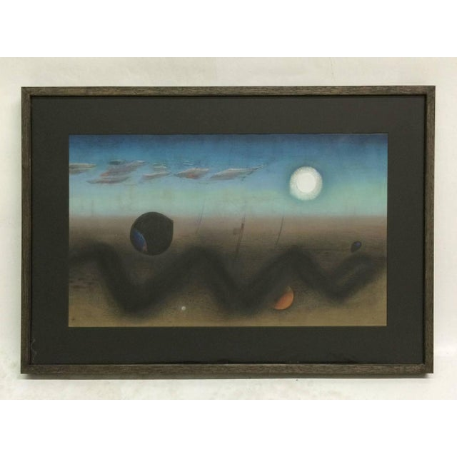 Offered is a lovely pastel and gouache composition of a landscape in a Surrealist style. This piece is reminiscent of the...