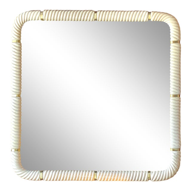 Tommaso Barbi Porcelain Wall Mirror With Brass For Sale