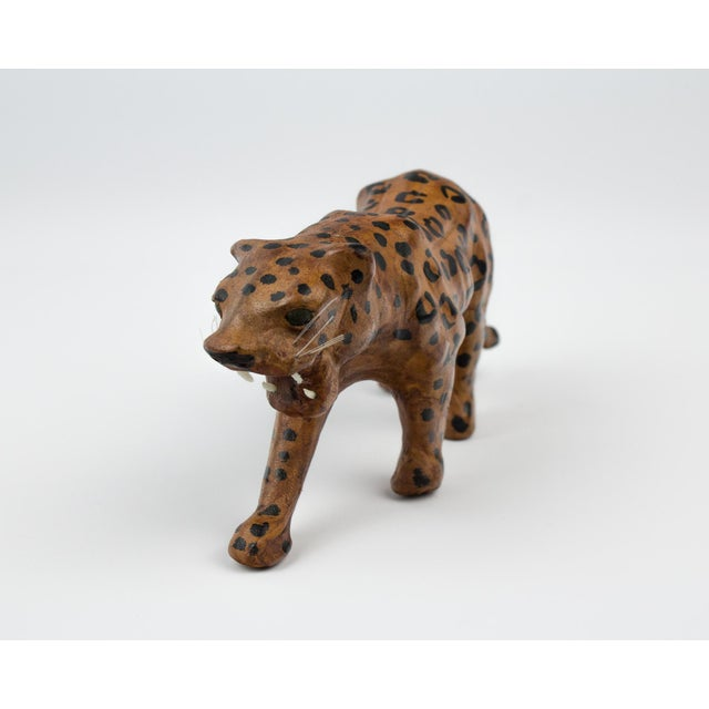 Vintage Hand Painted Leather Leopard Figure For Sale - Image 4 of 13