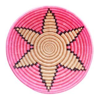 Handwoven Hot Pink Flower Plateau Basket