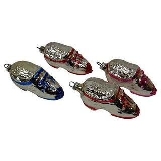 Vintage German Shoe Christmas Ornaments - Set of 4