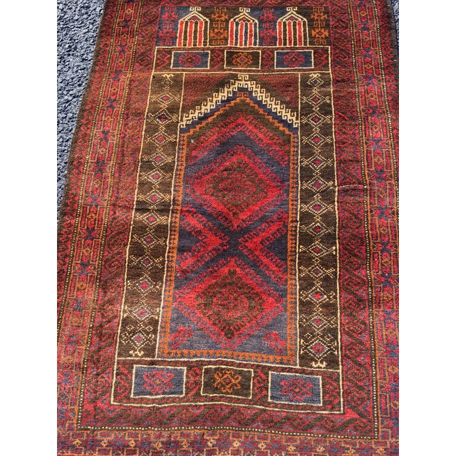 Vintage Persian Baluchi Small Area Rug- 2′10″ × 4′4″ - Image 2 of 8