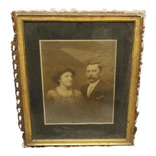 Vintage Framed Husband & Wife Portrait Photo For Sale
