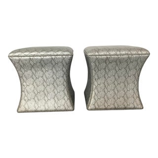 Modern Faux Snake Skin Ottoman- a Pair For Sale