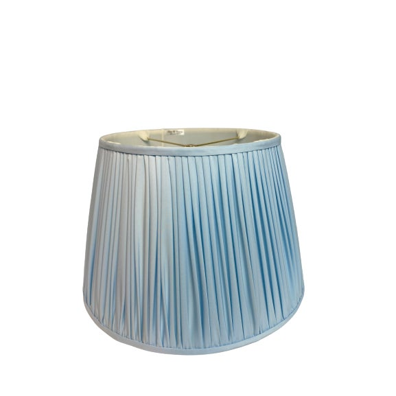 Mid-Century Modern Heath and Company Original Powder Blue Lampshade For Sale - Image 3 of 3