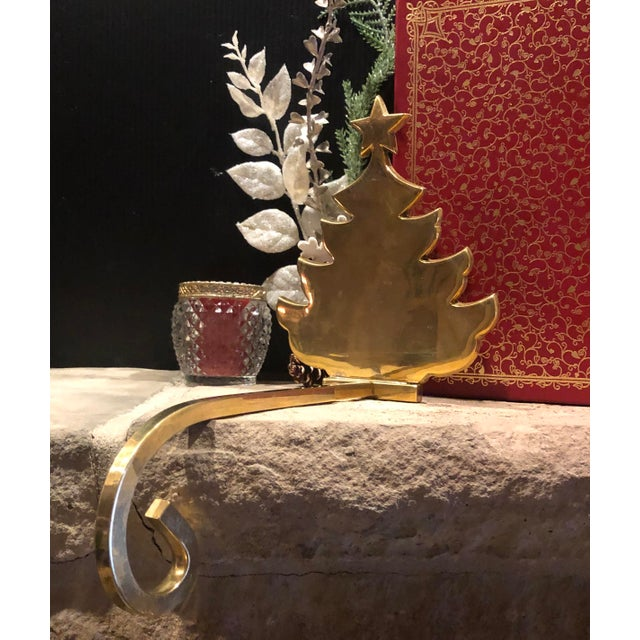 Vintage Christmas Holiday Tree Brass Stocking Hanger For Sale - Image 4 of 6