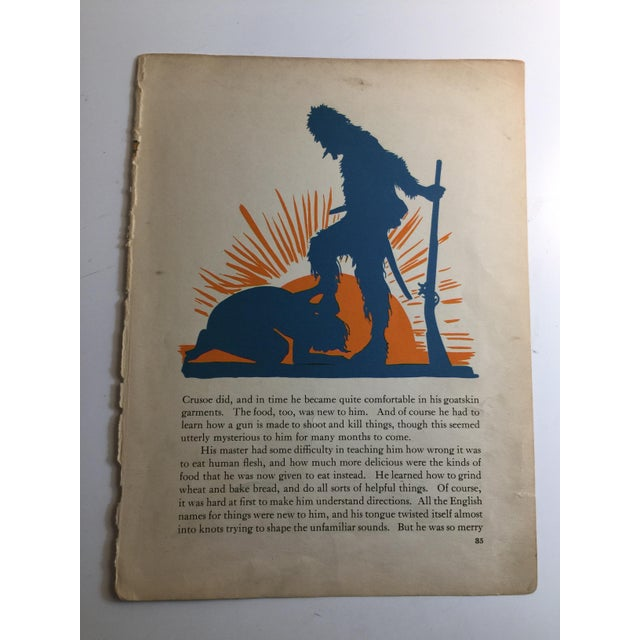 1931 Vintage Robinson Crusoe Building the Big Boat Prints - A Pair For Sale - Image 4 of 6