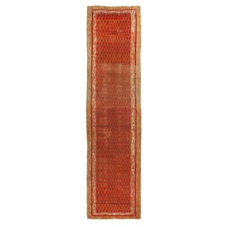 Antique Kirsehir Red and Beige Wool Runner With Boteh Patterns - 3′3″ × 13′7″ For Sale