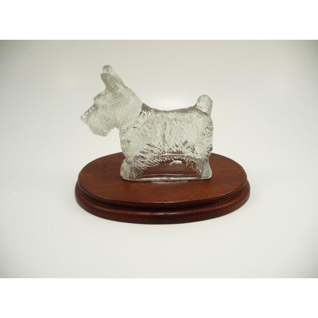 Vintage Glass Scottie Dog Figurine on Oval Wood Base - Image 2 of 6