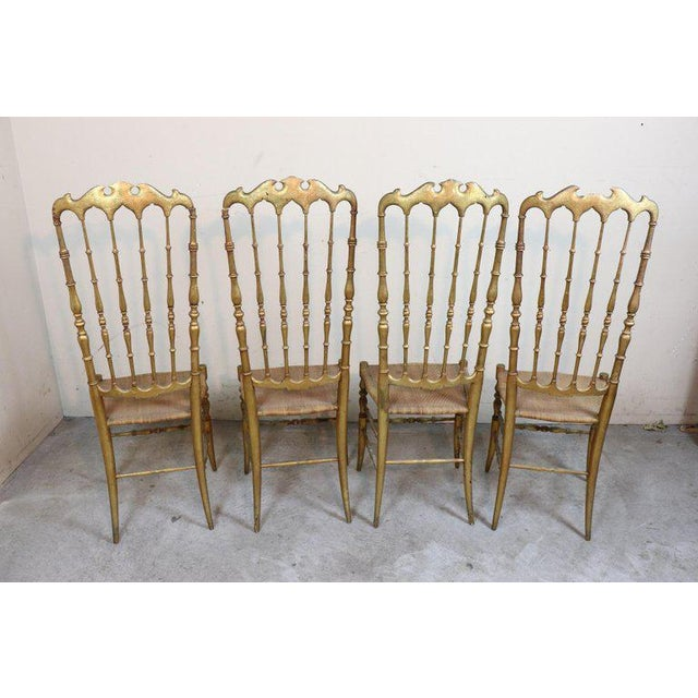 Wood 19th Century Italian Set of Four Turned and Gilded Wooden Famous Chiavari Chairs For Sale - Image 7 of 10