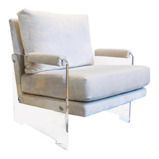 Mist Stone Coloured Cushion Transparent Acrylic Chair For Sale