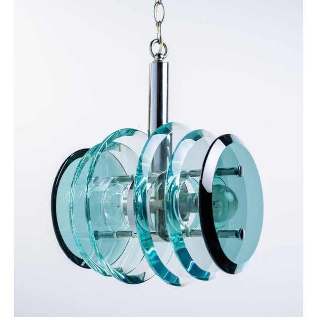 Max Ingrand Italian Mid-Century Modern Geometric Glass Pendant Light For Sale - Image 4 of 11