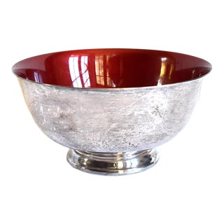 Reed & Barton Red Enamel and Silver Plate Revere Bowl For Sale