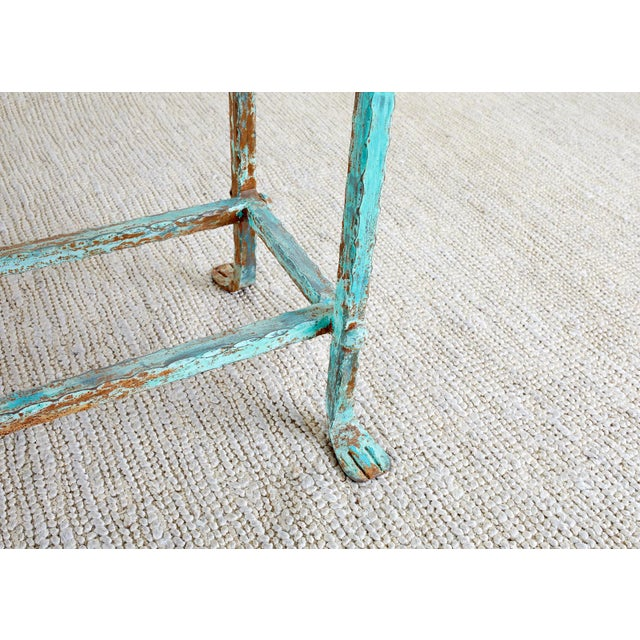 Patinated Iron and Stone Garden Console Table For Sale - Image 9 of 13