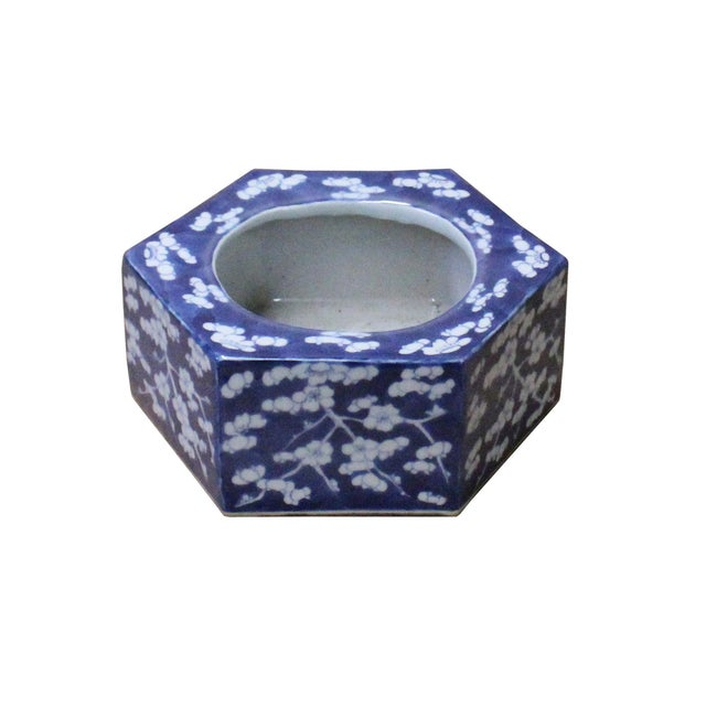 Ceramic Chinese Blue & White Porcelain Blossom Graphic Hexagon Bowl Container For Sale - Image 7 of 7