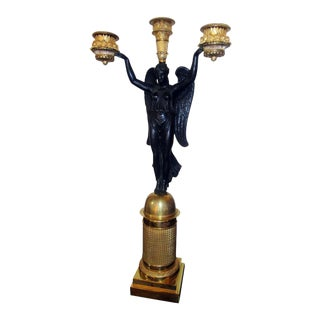 Antique Pierre-Philippe Thomire Attributed Single French Empire Gilt Bronze Candelabrum For Sale
