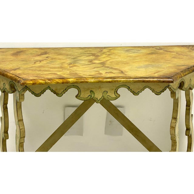 French Chelsea House Faux Marble Venetian Style Console Table For Sale - Image 3 of 8