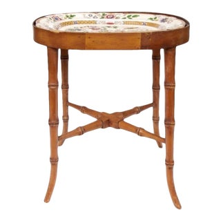 Antique English Faux Bamboo Table With Stone China Tray Top For Sale