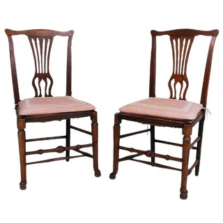 Mid 19th Century English Country Chippendale Side Chairs - a Pair For Sale