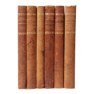 Scandinavian Leather-Bound Books S/6 For Sale