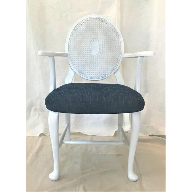 Contemporary Mid-Century Caned Balloon Back Arm Chairs– a Pair For Sale - Image 3 of 7