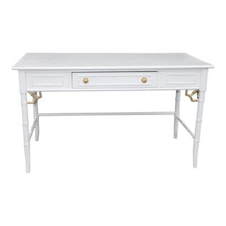 1970s Chinoiserie Thomasville Allegro Faux Bamboo Writing Desk For Sale