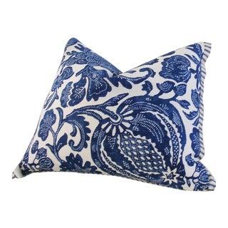 Batik Floral Blue Floral Batik Accent Lumbar Pillow Cover For Sale