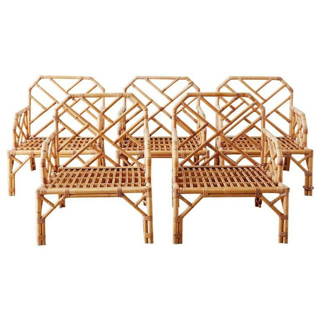 Brown Jordan Chinese Chippendale Rattan Bamboo Lounge Chairs For Sale - Image 13 of 13