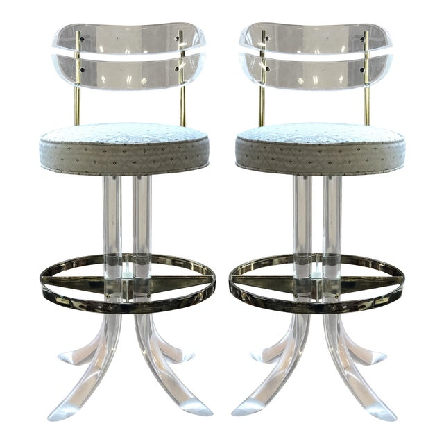 Metal Charles Hollis Jones Lucite and Brass Bar Stools - a Pair For Sale - Image 7 of 7