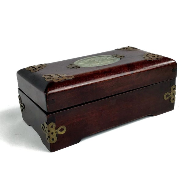 1920s Chinese Jade & Rosewood Cigarette Box For Sale - Image 13 of 13