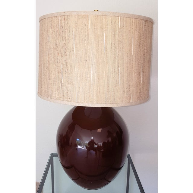 Brown Ceramic Teardrop Lamp For Sale - Image 4 of 6