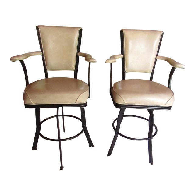 Industrial Style Iron and Pleather Swivel Bar Stools - a Pair For Sale