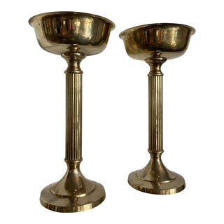 1980s Vintage Brass Chalice Floral Pedestals - a Pair For Sale