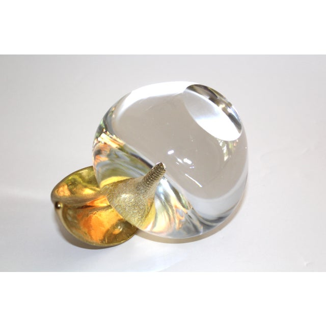 Metal 1970's Crystal Apple Paperweight With Brass Stem & Leaf For Sale - Image 7 of 11