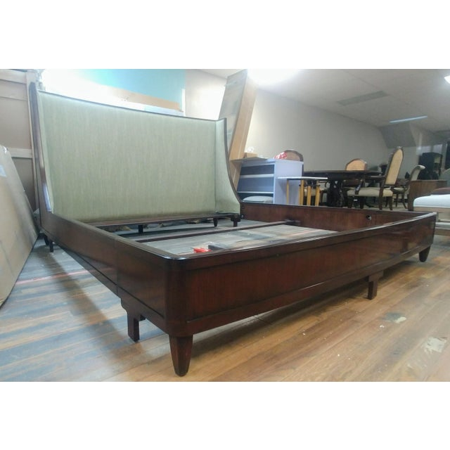 Henredon Furniture Barbara Barry Graceful Walnut Upholstered King Platform/Low Profile Bed For Sale - Image 13 of 13