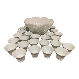 Vintage Antique Milk Glass Grapes Pattern Punchbowl Set - 25 Pieces For Sale