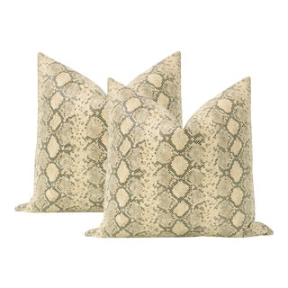 "22"" Python Faux Leather Pillows - a Pair For Sale"