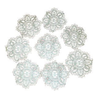 Gorgeous Ecru Antique Lace Coasters - Set of Eight For Sale