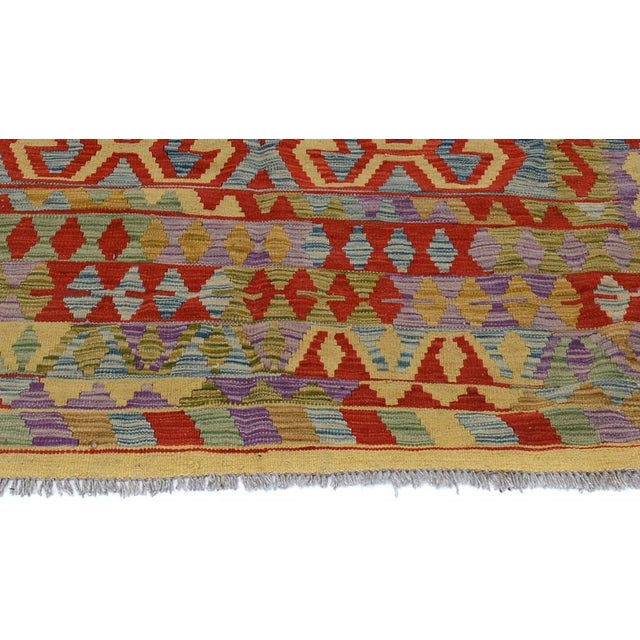 "2010s Kilim Arya Jarrod Gold/Red Wool Rug - 6'5"" X 9'8"" A9288 For Sale - Image 5 of 7"
