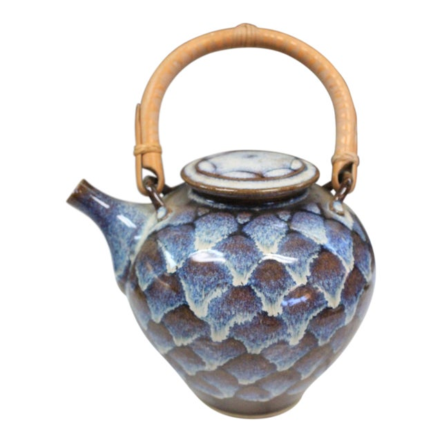 Ceramic Teapot with Wooden Handle For Sale