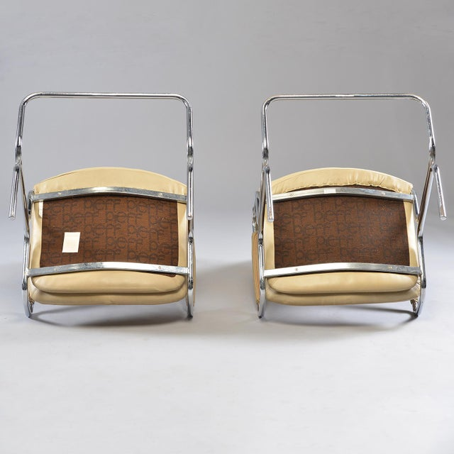 Tim Bates for Eleganza Collection at Pieff Chrome and Leather Armchairs - a Pair For Sale - Image 11 of 13