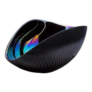Murano Bowl in Matte Black with Iridescent Colors
