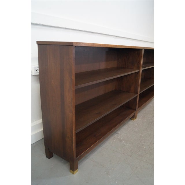 Mid-Century Modern Walnut Low Bookcases - Pair - Image 5 of 10