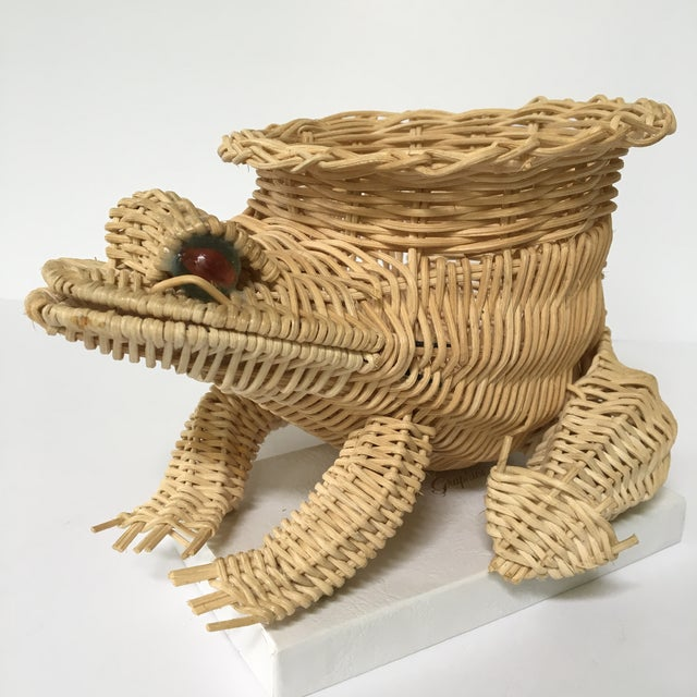 20th Century Cottage Marble Eyed Wicker Frog Planter/Catchall For Sale - Image 10 of 10