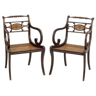 19th Century Regency Style Fancy Painted Armchairs - a Pair For Sale