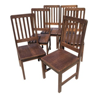 Iroko African Teak Slat Back Outdoor Patio Dining Chairs - a Pair For Sale