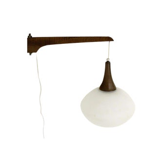Walnut Frosted Glass Danish Mid-Century Modern Wall Hanging Light Fixture Scones For Sale