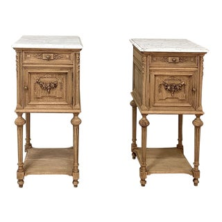 19th Century French Louis XVI Marble Top Nightstands - a Pair For Sale